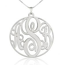 silver monogram necklace monogram pendant