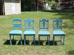 Vintage Wood Chairs Of 4 Antique Wooden Spindle Back Chairs