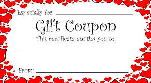 printable romantic gift certificates heart theme gift coupon for valentine s day or any time of year