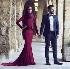 muslim engagement dresses burgundy mermaid wedding dress sleeve muslim bridal dresses