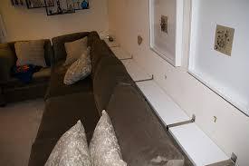 Sofa Table Against Wall Building A Sofa Table Using Ikea Ekby Wall Mounted Shelves