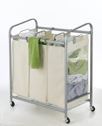 Laundry Divider Hamper heavy duty 3 bag laundry sorter cart hamper organizer ls03 beige