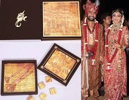 Unique Indian Wedding Cards 10 Unique And Elegant Wedding Invitations Of Indian Celebrities