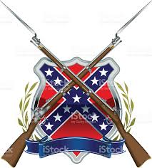 Confederate Flag And Union Flag American Civil War Confederate Flag With Musket And Bayonet Stock
