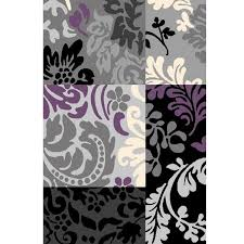 urban gray black and purple floral rug by l a rug inc for the