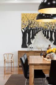 melbourne wishbone chairs dining room contemporary with trees