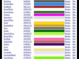 list of color list of html color codes youtube