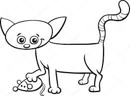 kitten toy mouse coloring u2014 stock vector izakowski 81974732