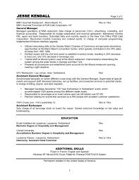 Hospitality Job Resume by Restaurant Manager Resume Berathen Com