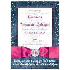 wedding invitations san antonio quinceañera invitation denim u0026 diamonds printed pink ribbon