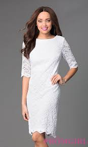 sf knee length lace dress with sleeves promgirl