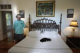 tour guide with one of the cats in the master bedroom picture