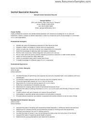 It Specialist Resume Sample by Dentist Resume Sample Free Resumes Tips