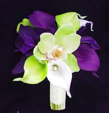 purple calla lilies touch purple calla lilies and green cymbidium orchids silk
