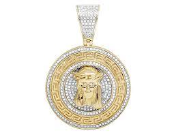 jesus necklace images Men 39 s 10k yellow gold real diamond bismark medallion jesus pendant jpg