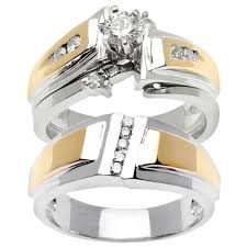 wedding ring trio sets 1 00ct tcw wedding ring set in 18k two tone gold trio set