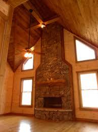 heavy stack fieldstone cedar half log fireplace mantel dressed