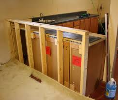 How To Level Kitchen Base Cabinets Base Cabinets Into Bar Side And Built A Top Out Of Plywood