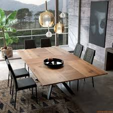 4x4 modern table in metal 200x100 cm wooden top extendable