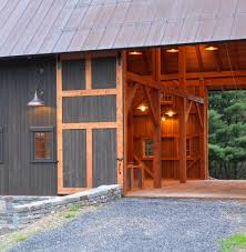 barn siding ideas garage eclectic with shaded trellis red roof