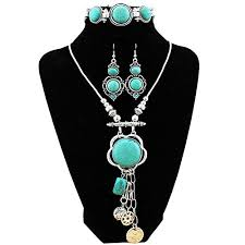 tibetan silver turquoise necklace images Xy fancy flower turquoise jewelry sets vintage look tibetan silver jpg