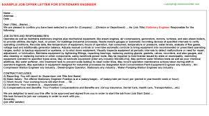 Stationary Engineer Resume Sample by Stationary Engineer Offer Letter