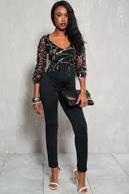 black and gold jumpsuit black gold sequin fringe detail sleeve dressy jumpsuit