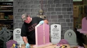 how to make fake tombstones for halloween how to finish your custom woodloom foamstones tombstone youtube