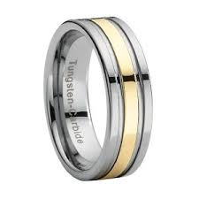 tungsten wedding band with gold stripe overlay just men s rings