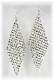 silver drop earrings deco diamond drop earrings silver diamante danglers