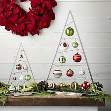 modern a frame ornament tree is angled just so to display ornaments