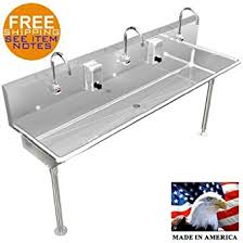 stainless steel hand sink amazon com 3 multi station 72 wash up hand sink electr faucet