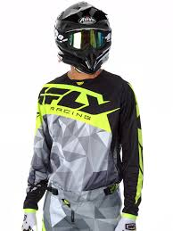 fly motocross jersey fly racing negro gris hi viz 2017 kinetic crux mx jersey ebay