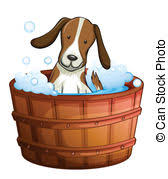 Dogs In The Bathtub Vector Illustration Of Dog Taking A Bath Vector Illustration Of