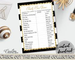 candy bar baby shower game with black white stripes color theme