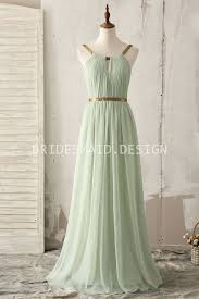 gold strap light green chiffon floor length a line bridesmaid