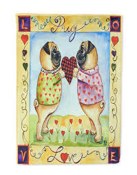 Valentine S Day Flags Pug Love Pug Love Valentine U0027s Day Flag Garden Size Flags And