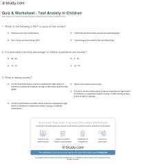 Ptsd Worksheets Quiz U0026 Worksheet Test Anxiety In Children Study Com