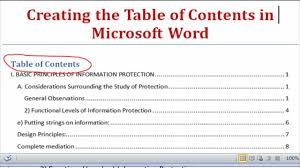 create table of contents in word creating the table of contents using microsoft word 2007 word 2010