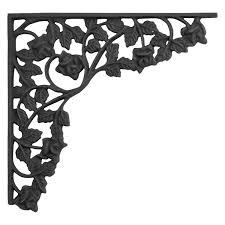 rose trellis large cast iron shelf bracket black powder coat