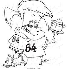vector of a cartoon little football spinning a ball on her