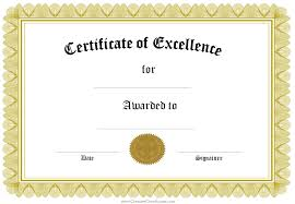 Free Certificate Of Excellence Template Certificate Of Excellence Template