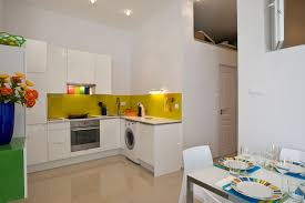 Color Ideas For Painting Kitchen Cabinets Contemporary Yellow And White Painted Kitchen Cabinets Design In