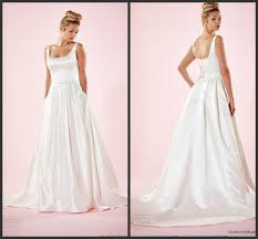 simple style wedding dresses square neckline satin sleeveless