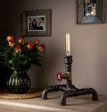 steampunk pipe table lamp industrial style modern handmade in uk