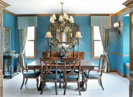 blue paint ideas for dining room with square table and 6 chairs