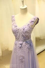 elegant v neck cute lavender prom dresses with flowers tulle pink