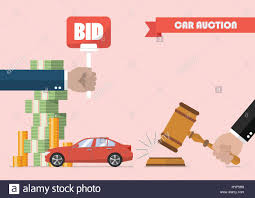 auto bid auction buying selling car from auction vector illustration stock vector