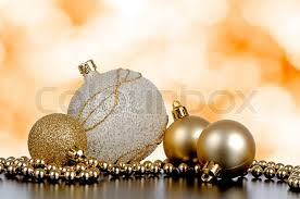 baubles with silver and gold decoration stock photo