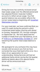 how many swipes students lost in ucla housing u0027s meal plan